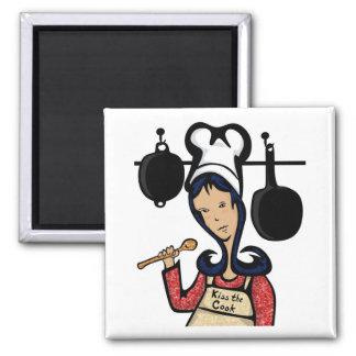Küssen Sie den Koch-illustrierten Magneten Quadratischer Magnet