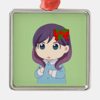 Küssen Sie ihn, nicht mich! Feiertags-quadratische Silbernes Ornament