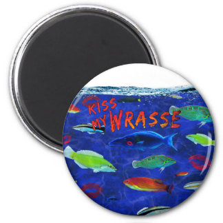 Küssen Sie meine Wrasse-Fische Runder Magnet 5,7 Cm