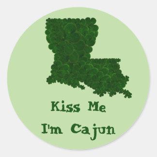Küssen Sie mich, den ich Cajun St Patrick Runder Aufkleber