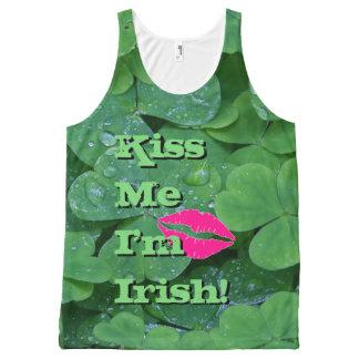 Küssen Sie mich, den ich irisches grünes Komplett Bedrucktes Tanktop