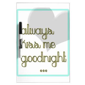 küssen Sie mich immer gute Nacht blaues gelbes Trockenlöschtafel