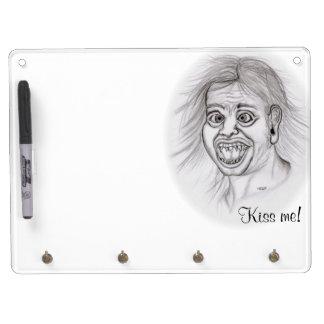 Küssen Sie mich! Zeichnen Sie das Zeichnen des Trockenlöschtafel Mit Schlüsselanhängern