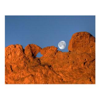 Küssen von Kamel-Felsformation mit Vollmond Postkarte