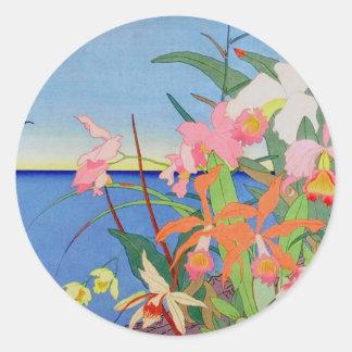 Küste-Blumen-Japaner Woodblock Kunst Ukiyo-E Runde Sticker