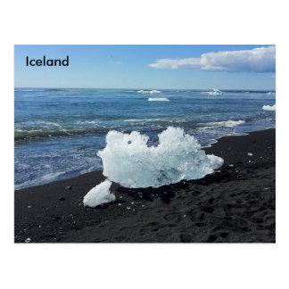 Küste durch die Gletscher-Lagune, Island Postkarte