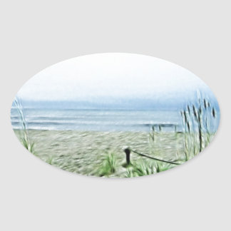 Küste Fractilus Kunst Ovaler Aufkleber
