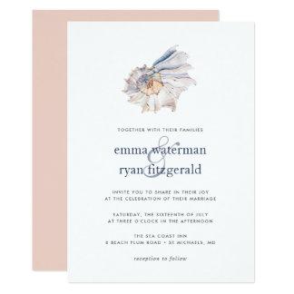 Küste  Seeseashell-Hochzeits-Einladung Karte