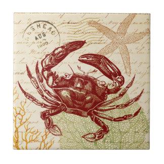 Küsten-rote Krabben-Collage Keramikfliese