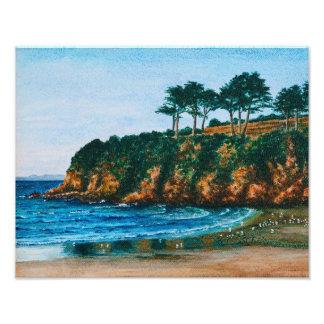 Küsten-Strand-Malerei Bretagne felsige - Fotodruck