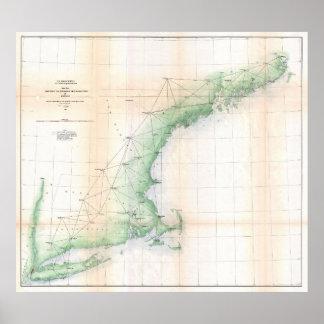Küstenkarte von Neu-England (1864) - verbessertes Poster