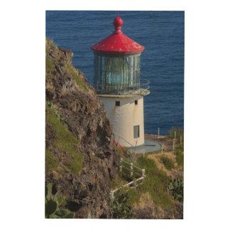 Küstenleuchtturm, Hawaii Holzleinwand