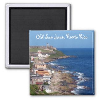 Küstenlinie alten San Juan, Puerto Rico Quadratischer Magnet