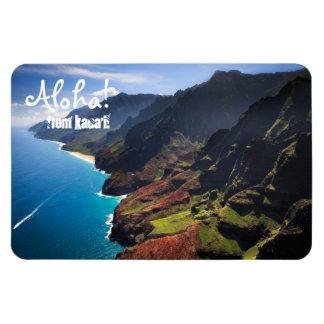 Küstenlinie Na Pali auf der Insel von Kauai, Hawai Eckiger Magnet