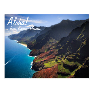 Küstenlinie Na Pali auf der Insel von Kauai, Hawai Postkarte