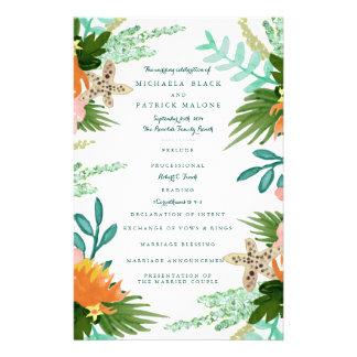 Küstenlinien-Hochzeits-Programme 14 X 21,6 Cm Flyer
