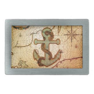 Küstenstrand-Seekarten-Vintager Anker Rechteckige Gürtelschnalle