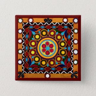 Kutch Stickerei-Mini exotisches globales Quadratischer Button 5,1 Cm