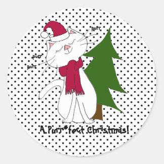Kute Miezekatze Purr*fect Weihnachtsaufkleber Runder Aufkleber