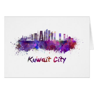 Kuwait City V2 skyline im Watercolor Karte