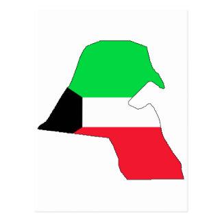 Kuwait-Flaggenkarte Postkarte