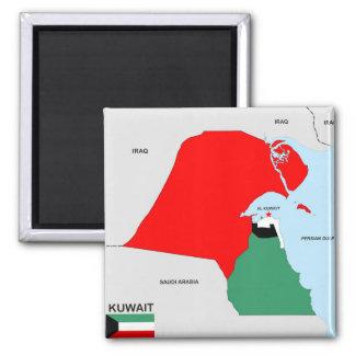 Kuwait-Landkartenflagge Quadratischer Magnet
