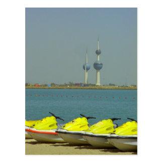 Kuwait-Türme und Jet-Ski Postkarte