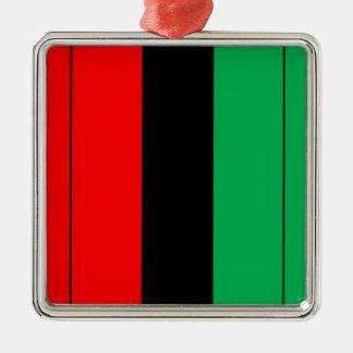 Kwanzaa färbt rotes schwarzes grünes quadratisches silberfarbenes ornament