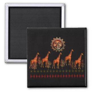 Kwanzaa-Giraffen Quadratischer Magnet