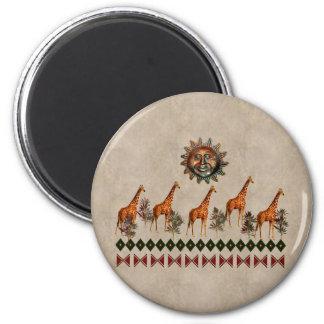 Kwanzaa-Giraffen Runder Magnet 5,1 Cm