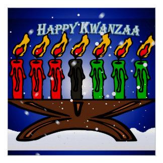 Kwanzaa-Kerze Kinara mit Schnee und Gruß Perfektes Poster