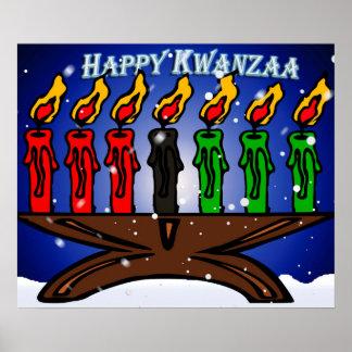 Kwanzaa-Kerze Kinara mit Schnee und Gruß Poster