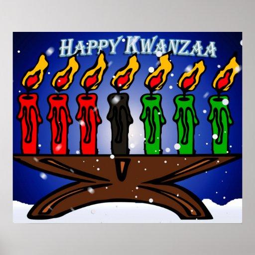 Kwanzaa-Kerze Kinara mit Schnee und Gruß Plakat