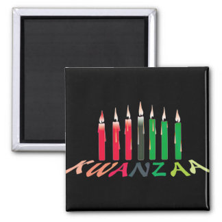 Kwanzaa-Kerzen Quadratischer Magnet