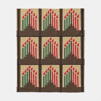 Kwanzaa-Kerzen-roter schwarzer grüner Fleecedecke