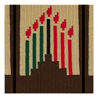 Kwanzaa leuchtet rote schwarze grüne Häkelarbeit Perfektes Poster