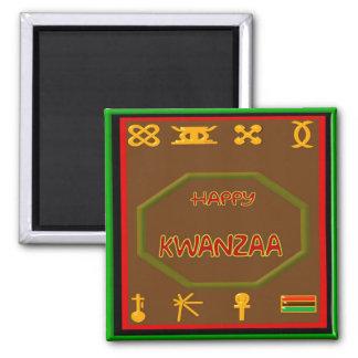 Kwanzaa-Symbole Quadratischer Magnet