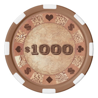 Kyoto-Brokat, vier Blätter - Frühlingsjapanerdame Poker Chip Set