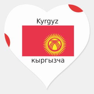 Kyrgyz Sprache und Kirgisistan-Flaggen-Entwurf Herz-Aufkleber