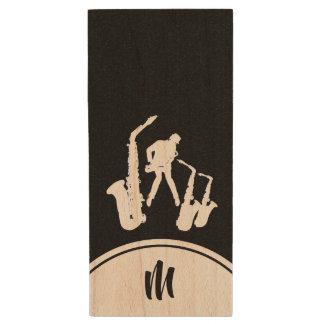 L Blitz des Jazz-Saxophon-weißer Holz USB Stick