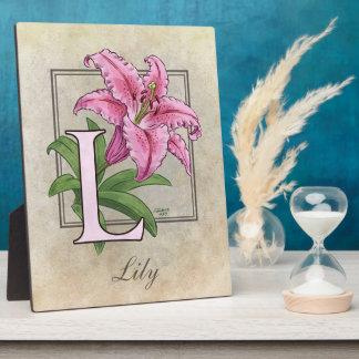 L für Lilien-Blumen-Monogramm Fotoplatte
