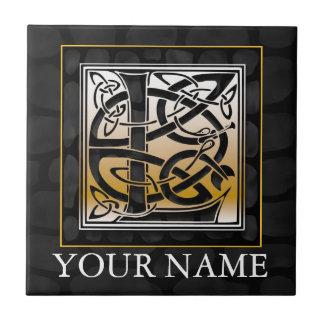 """L """"Ihre Namens"""" keltische schwarze Fliese"""