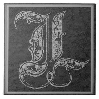"""L Monogramm """"königliche graue Stein"""" Fliese"""