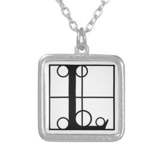 L- Typografie-Initiale Halskette Mit Quadratischem Anhänger