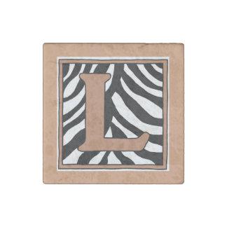 L-Zebra-Haut-Monogramm-Stein-Magnet Steinmagnet