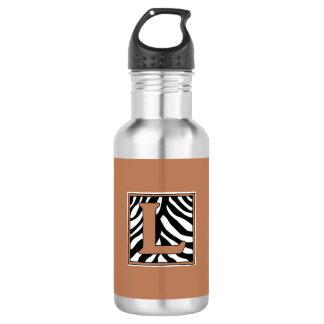 L-Zebra-mit Monogramm Wasser-Flasche Edelstahlflasche