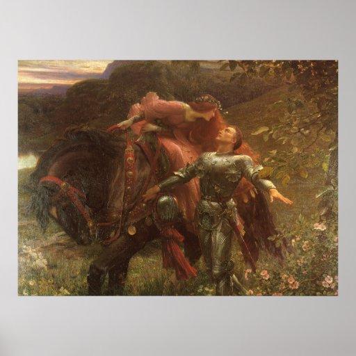 La Belle Dame sans Merci, Dicksee, Victorian Art Posters