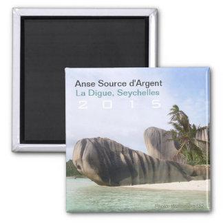 La Digue, Seychellen-Strand-Magnet-Reise-Andenken Quadratischer Magnet