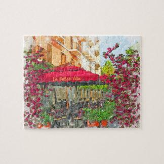 La Dolce Vita Café im Italien-Aquarell-Puzzlespiel Puzzle