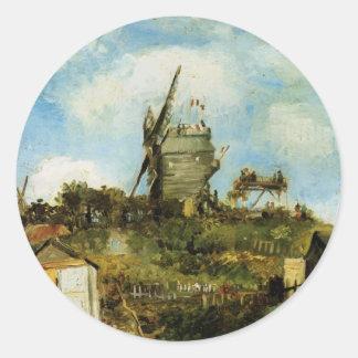 La Galette, Vintage Windmühle Van Gogh Le Moulin Runder Aufkleber